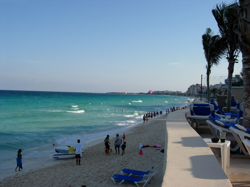 A view of the beach from the resort that I stayed at during my trip to Cancun.