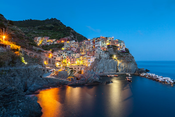 Manarola at twilight, Cinque Terre, Italy, 2012