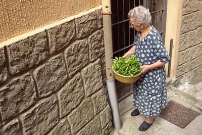 Woman and fresh basil