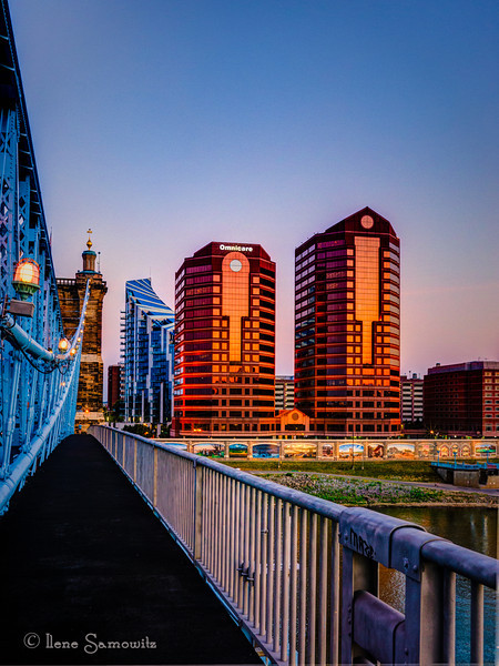 John A. Roebling Suspension Bridge looking towards Covington, Kentucky