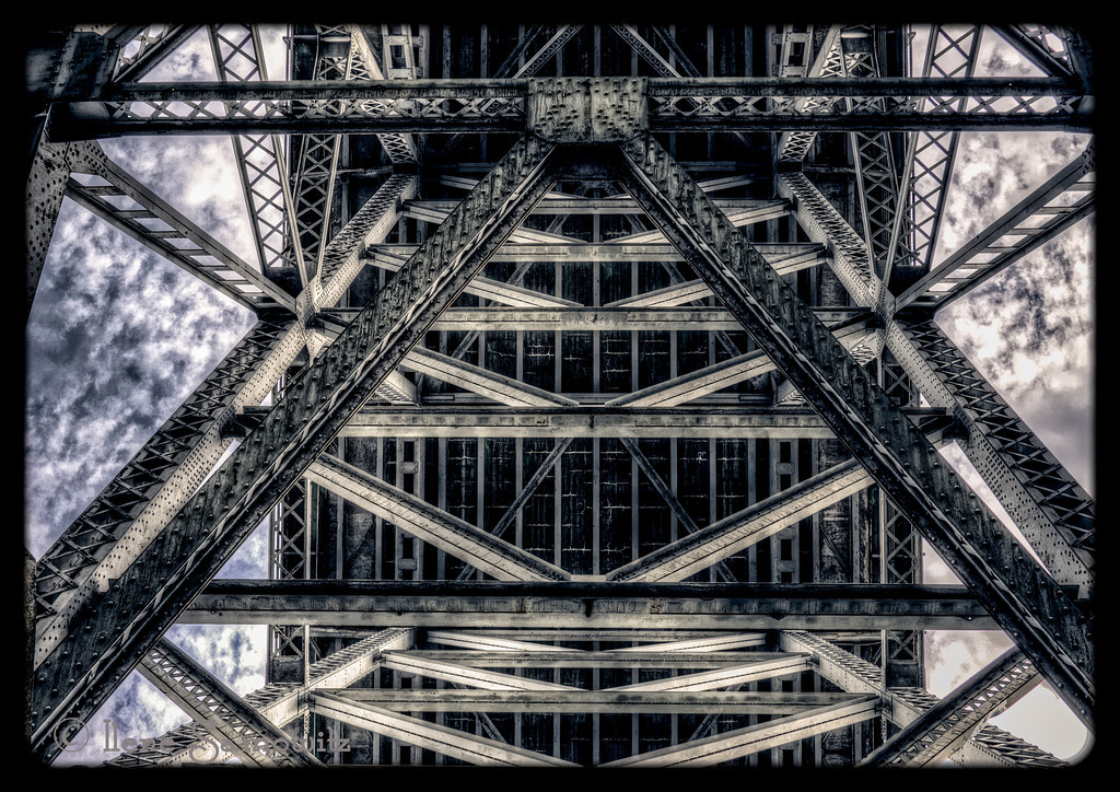 10-30-12 The Aurora Bridge - This is the underside of the Aurora Bridge shot below it in Fremont along the Ship Canal.  This was taken as a 5 shot HDR processed in Photomatix and Perfect Photo Suite 6.  It was shot using my Panasonic GH2 and the Lumix 20 f 1.7 lens.  In answer to yesterday's post, it was shot with my Nikon D800E and the 70-300 VR  at 70 mm.<br /> <br /> Hope everyone on the East coast is staying safe and making it through Sandy.<br /> <br /> Critiques welcome.