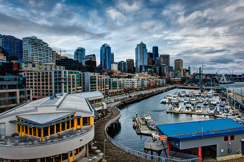 12-5-12 Downtown Seattle As Seen From Pier 66 - this is a 5 stop Hdr processed with Photomatix and then Color Effex Pro 4.<br /> <br /> Critiques Welcome.