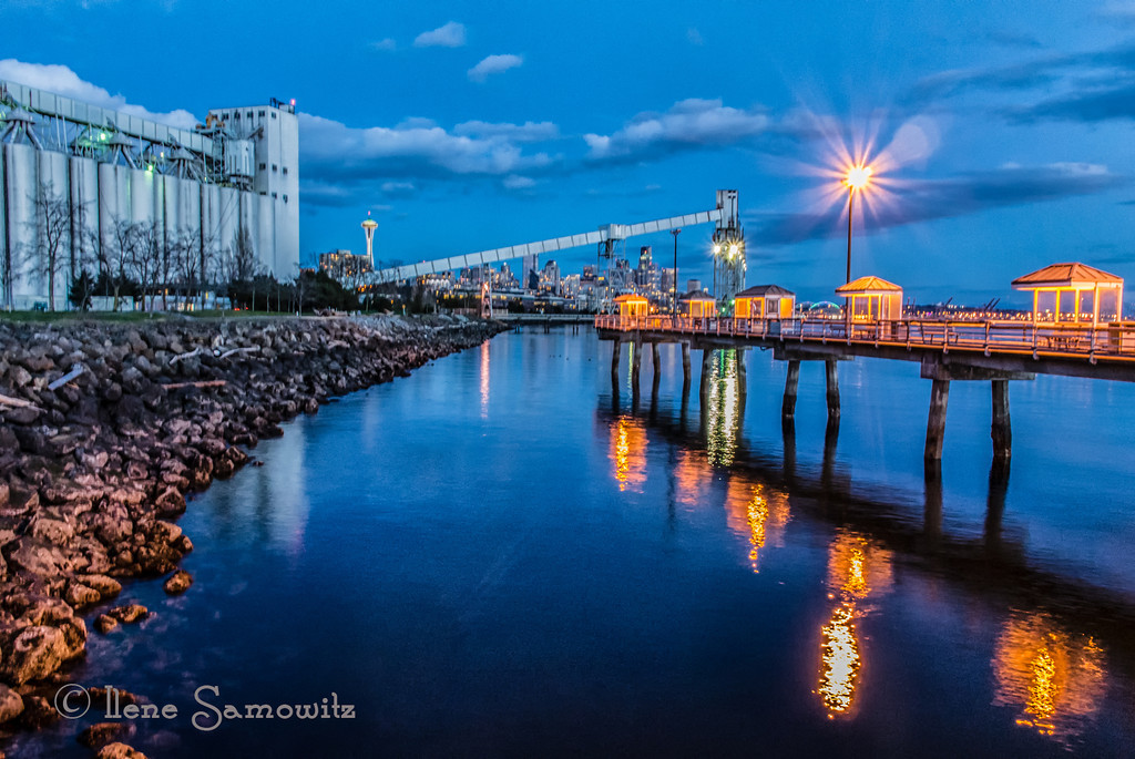 3-3-13 Seattle Blue Hour - taken with my Nikon 1 v1 from the Seattle Fishing Pier near the Grainery earlier today.