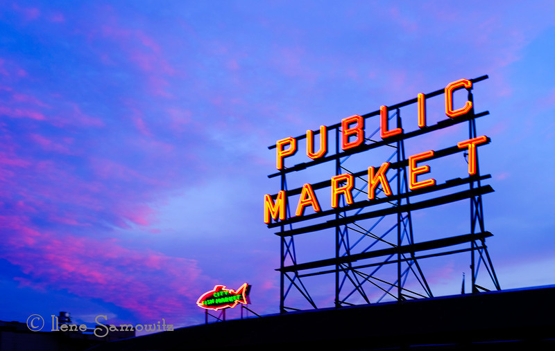 8-6-13 Sunset at the Pike Place Market. Seattle, WA.