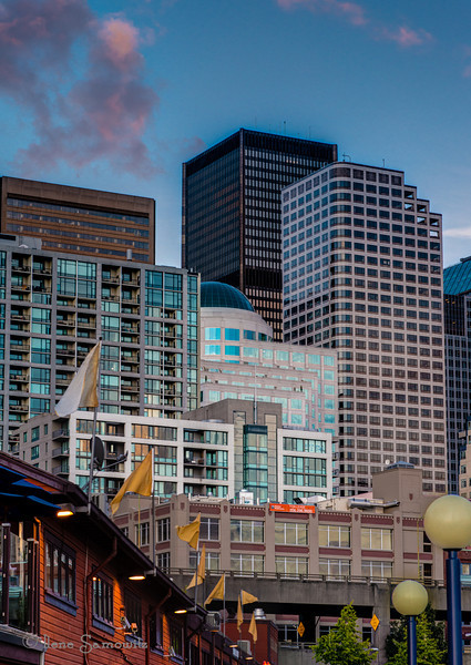 9-3-13 Downtown Seattle at Golden Hour from Pier 57.  I used to work in the building that reminds everyone of Ban Roll-on (the beige one with the blue dome) before I started working in Bellevue in April.  I miss working in downtown Seattle for all the photo ops, although I am happy I changed jobs.<br /> <br /> I'm back in town from our Labor Day trip to the Oregon coast so I am expecting to be able to comment tomorrow.  thanks for understanding and continuing to comment on my images.