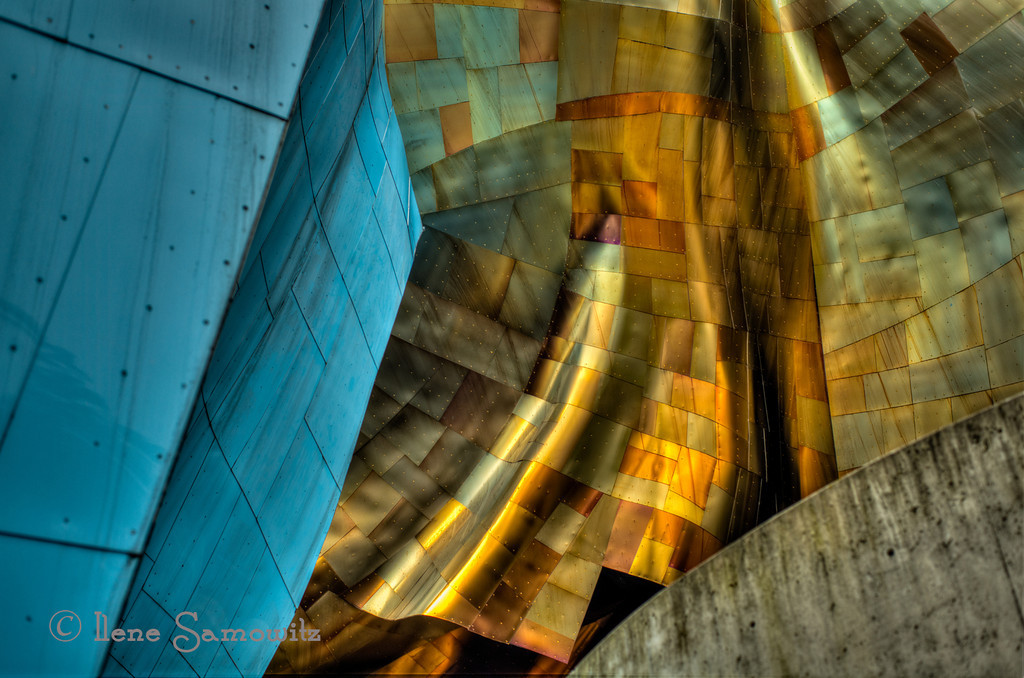 11-4-12 The EMP (Experience Music Project Building at Seattle Center).  I was able to get to the Seattle Center today and take this image which is a section of the EMP.  The concrete in the lower right hand corner is the monorail track.  This was a 5 exposure HDR processed in Photomatix Pro and OnOne Perfect Suite 7. <br /> <br /> Critiques Welcome.