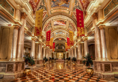 The Venetian Resort Hotel Casino is a luxury hotel and casino resort situated between Harrah's and The Palazzo on the east side of the Las Vegas Strip in Paradise, Nevada, United States, on the site of the old Sands Hotel. Designed by KlingStubbins, the hotel tower contains 36 stories and rises 475 feet (145 m). The Venetian is owned and operated by the Las Vegas Sands Corporation. The Venetian also serves as the seat of the corporate headquarters for its parent company.  The Venetian is (along with the adjacent Sands Expo Convention Center and The Palazzo Hotel and Casino Resort) part of the largest five-diamond hotel and resort complex in the world with 4,049 suites, 4,059 hotel rooms, and a 120,000-square-foot (11,000 m2) casino.  Equipment=Canon EOS 6D (Canon 6D) Lens Used=Tokina 17-35mm F/4 AT-X Pro FX Lens Exposures=7 Location=Las Vegas, Nevada  Workflow= PhotoMatix 5 Adobe PhotoShop Cs6(Lightning Adjustments=2.0) Adobe Light room 5  Software, Nik Color Efex=Tonal Contrast, Detail Extractor, and Glamor Glow,   Topaz Adjust 5=Mild Details  Topaz Details 3  OnOne Perfect Photo Suite=Angel Glow