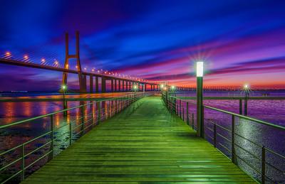 The Vasco da Gama Bridge Just Before Dawn (Luminosity Masks)