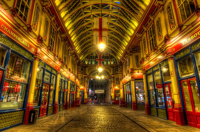Leadenhall Market is a covered market in London, located on Gracechurch Street but with vehicular access also available via Whittington Avenue to the north and Lime Street to the south and east, and additional pedestrian access via a number of narrow passageways.  It is one of the oldest markets in London, dating back to the 14th century, and is located in the historic centre of the City of London.   Equipment=Nikon D7000 Lens Used=Tamron SP AF 10-24mm F/3.5-4.5 Exposures=7 Location=London England  Workflow=PhotoMatix 4.2 Adobe PhotoShop Cs6(Lightning Adjustments=-5.0) Adobe Light room 5  Software, Nik Color Efex=Glamor Glow,Tonal Contrast(Colors Only)  OnOne Perfect Photo Suite=Auto Color, Angel Glow