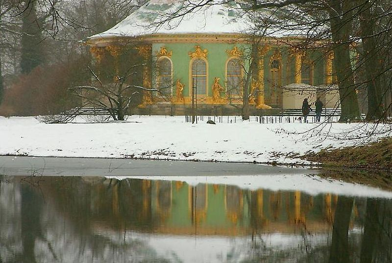 "<H2><b>Reflection of the Dragon's house on the water</b></H2> <P ALIGN=LEFT>The dragon's house (Drachenhaus) was built in a ""chinese"" roccoco style at the Sanssouci park of Potsdam, Germany.<P>"