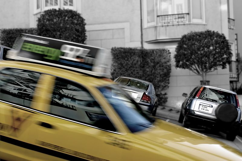 A cab passing in Fillmore Street, San Francisco (CA).