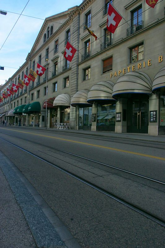 A typical street in Geneva, Switzerland.