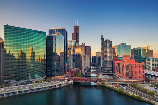 Chicago at dawn.