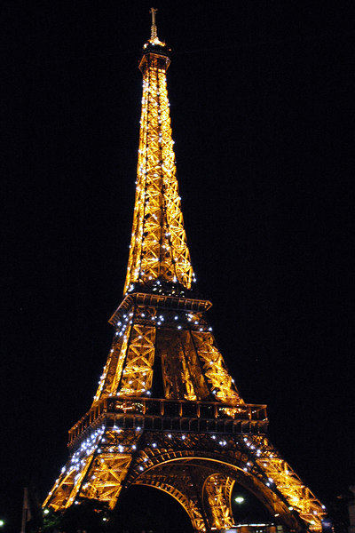 June 11th, 2006.<br /> The Eiffel tower at night taken from a boat on the river seine.