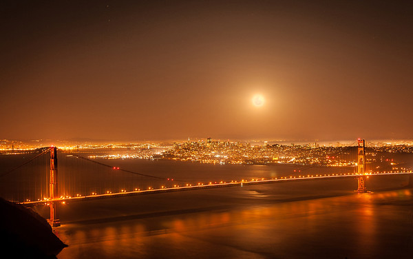 Golden Gate Bridge & Perigee Moon