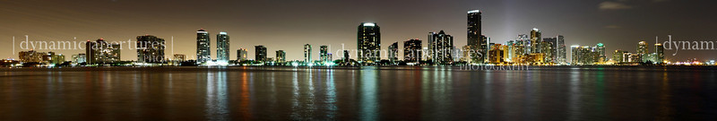 "Miami, FL cityscape at night.  Beautiful panoramic print (recommended print size 8"" x 48"" or larger)."