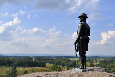 General Warren statue on Little Round Top. Gettysburg National Military Park