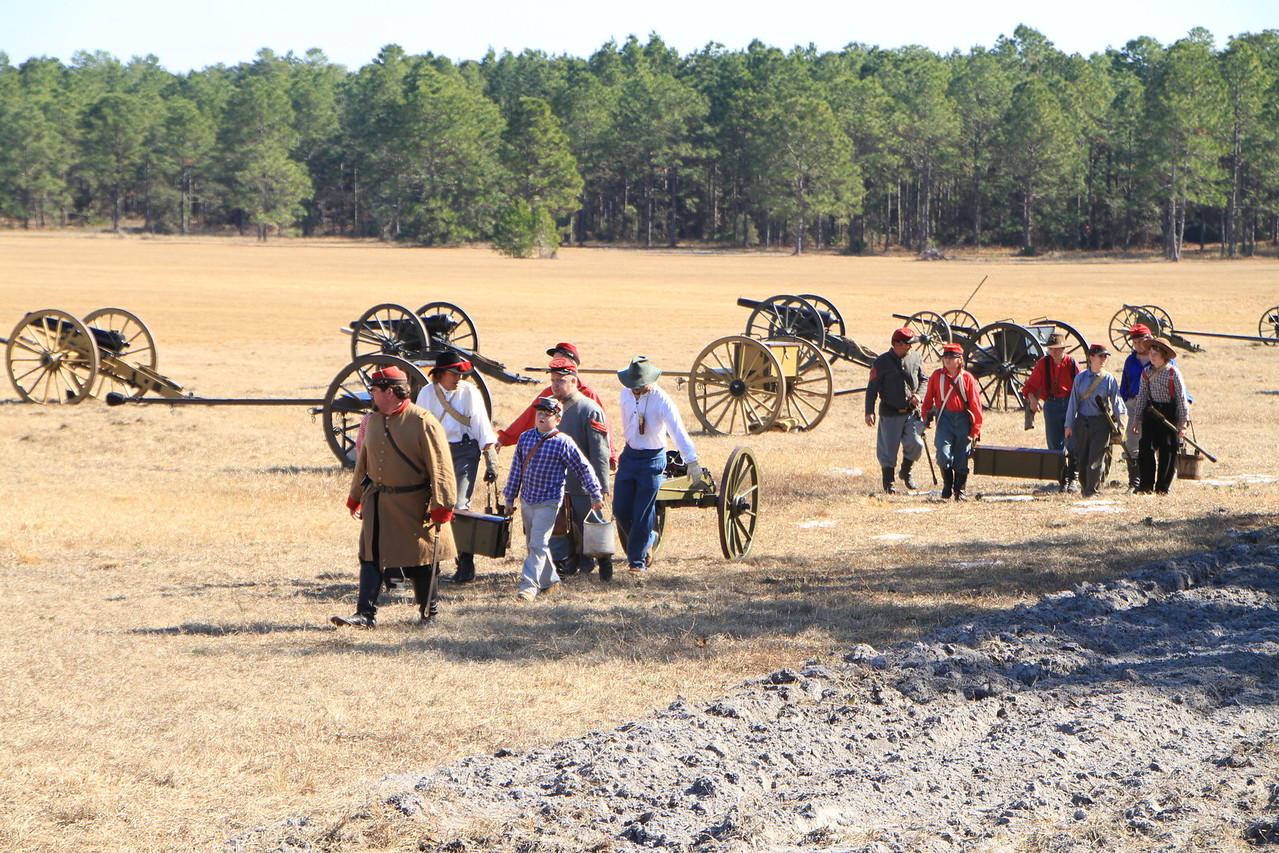 The canons and supplies had to be hand towed out into the battlefield.