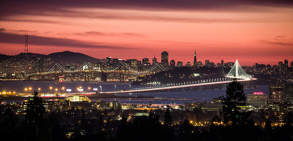 The Bay Bridge and downtown San Francisco from the Claremont