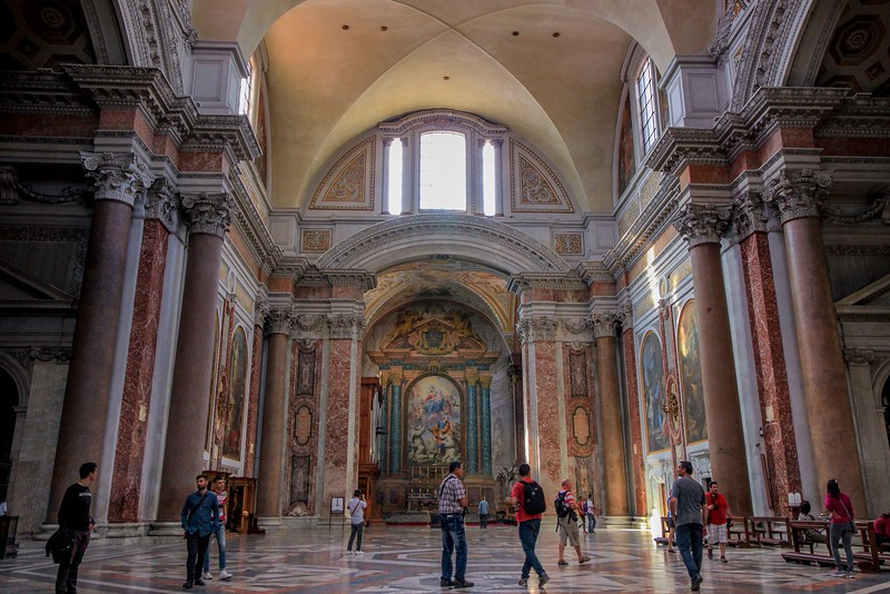 The oldest major church structure in Rome is Basilica Santa Maria Degli Angeli. It was built inside the abandoned remains of the Diocletian Bath House (306 A.D.), the premier Roman baths of ancient Rome.