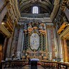 Church of St Ignacius Loyola. Super wide angle of altar and ceiling.
