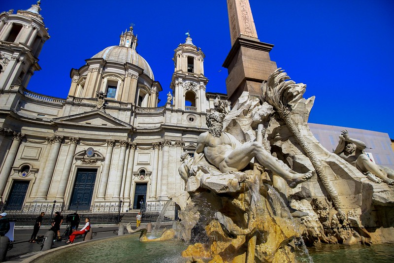Sant Agnese in Agone church behind the Fountain of the Four Rivers, one of the beautiful fountains of Piazza Navona.