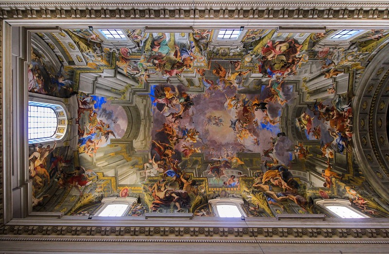 The best and most famous artists and sculptors of the day contributed to most of Rome's churches. Here in the Church of St. Ignacius Loyola, painter Andrea Pozzo did the ceiling. The current massive structure was started in 1626 and took over 70 years to finish.