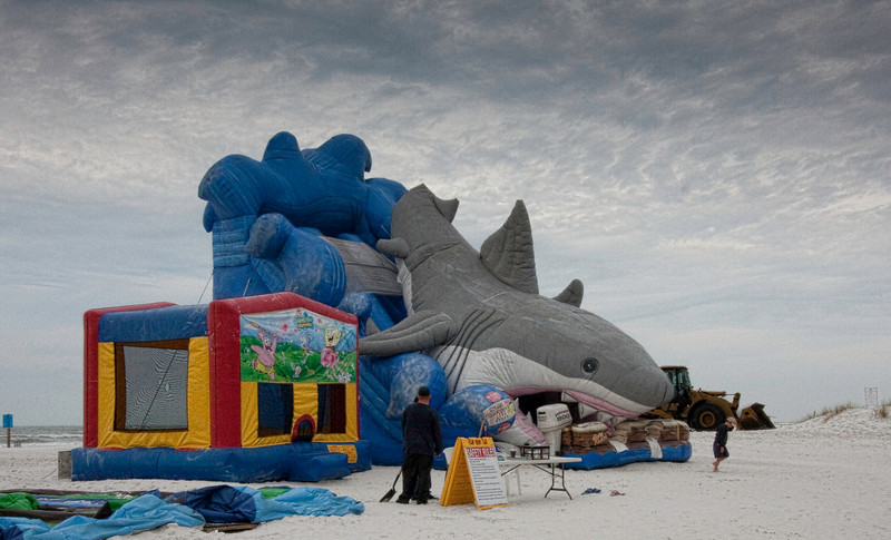 Giant shark slide. Photo edited in Photoshop using Topaz filters.