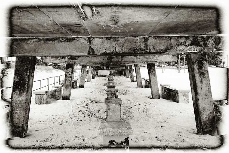 Underside of pier, Clearwater Beach. Photo processed using Lightroom and Silver Effects Pro.