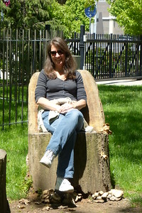 Chair craved into a tree stump.
