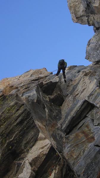 On the way down, we avoided some of the harder downclimbing with a 150 foot rappel. (Photo: Kyle Fernley)