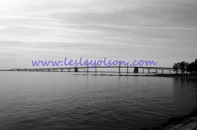 Bay Bridge in black and white