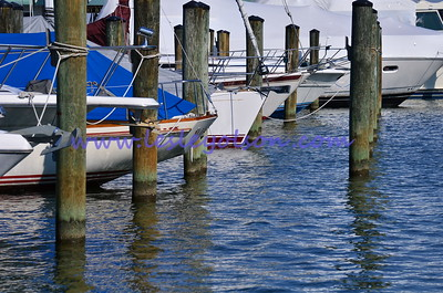 Boats lined up in Annapolis' harbor in the winter