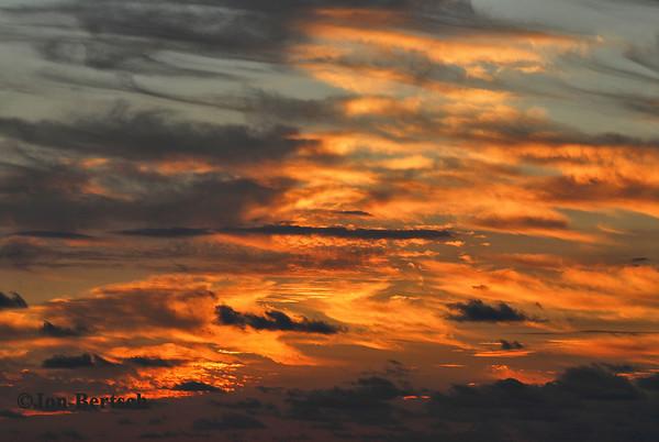 Sunset skies over Waikiki Beach, Hawaii