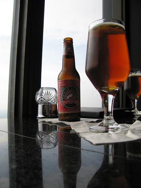 Goose Island beer in the Signature Room at the John Hancock Building