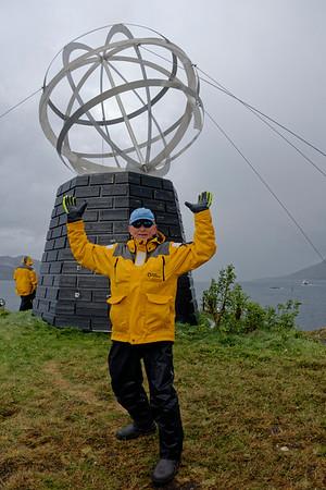 Arctic Circle marker, Norway - semi-selfie!