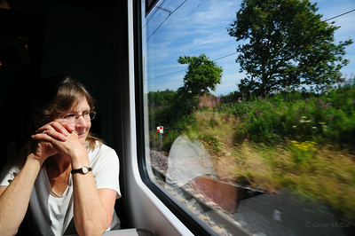 Mary watching the countryside from the train to St. Bees.