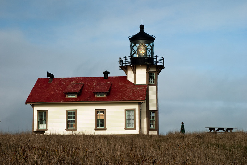 Point Cabrillo Light Station on a cloudy morning.