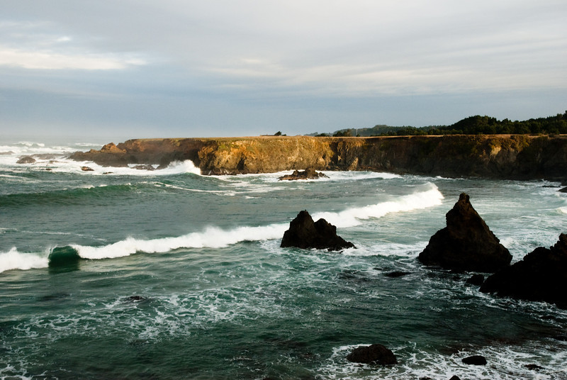 For aeons of time, the Pacific Ocean has been chipping away at the rocks, just like on this cloudy December morning...