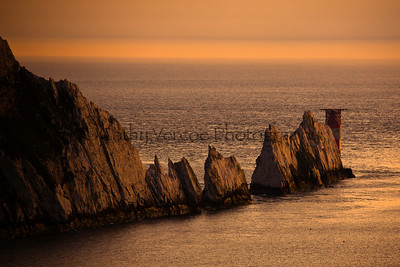 The Needles at sunset on the Isle of Wight