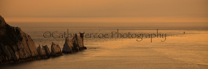 The Needles as the sun sets on the Isle of Wight