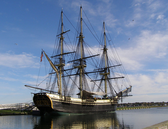 The tall ship Friendship in the harbor at Salem, Massachusetts.