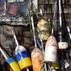 Buoys leaning against the side of a fishing shack, Rockport, Massachusetts