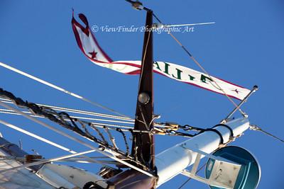 Ship's Banner Flies in the Breeze!