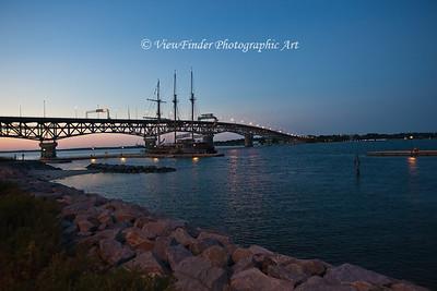 Scene at Yorktown Beach/Coleman Bridge