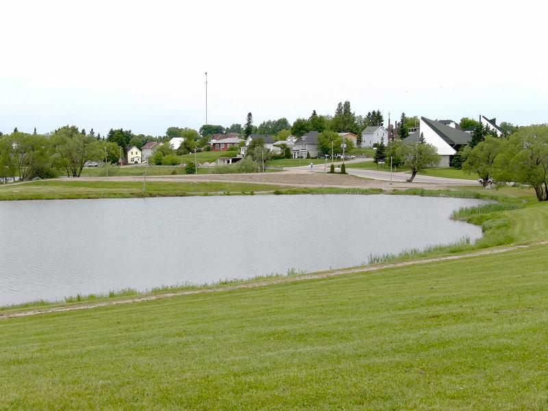 Showing former school site in Cochrane beside Lake Commando