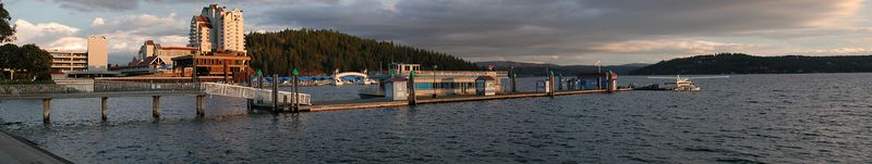 This is the Coeur d'Alene Resort and consists of five separate images stitched in CS2.  The Mish-an-Nock can be seen in the foreground.  Images taken with Nikon Coolpix 990.