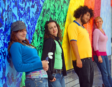 The Colors of Haight-Ashbury.  Believe it or not, they were just standing like that when I walked by!