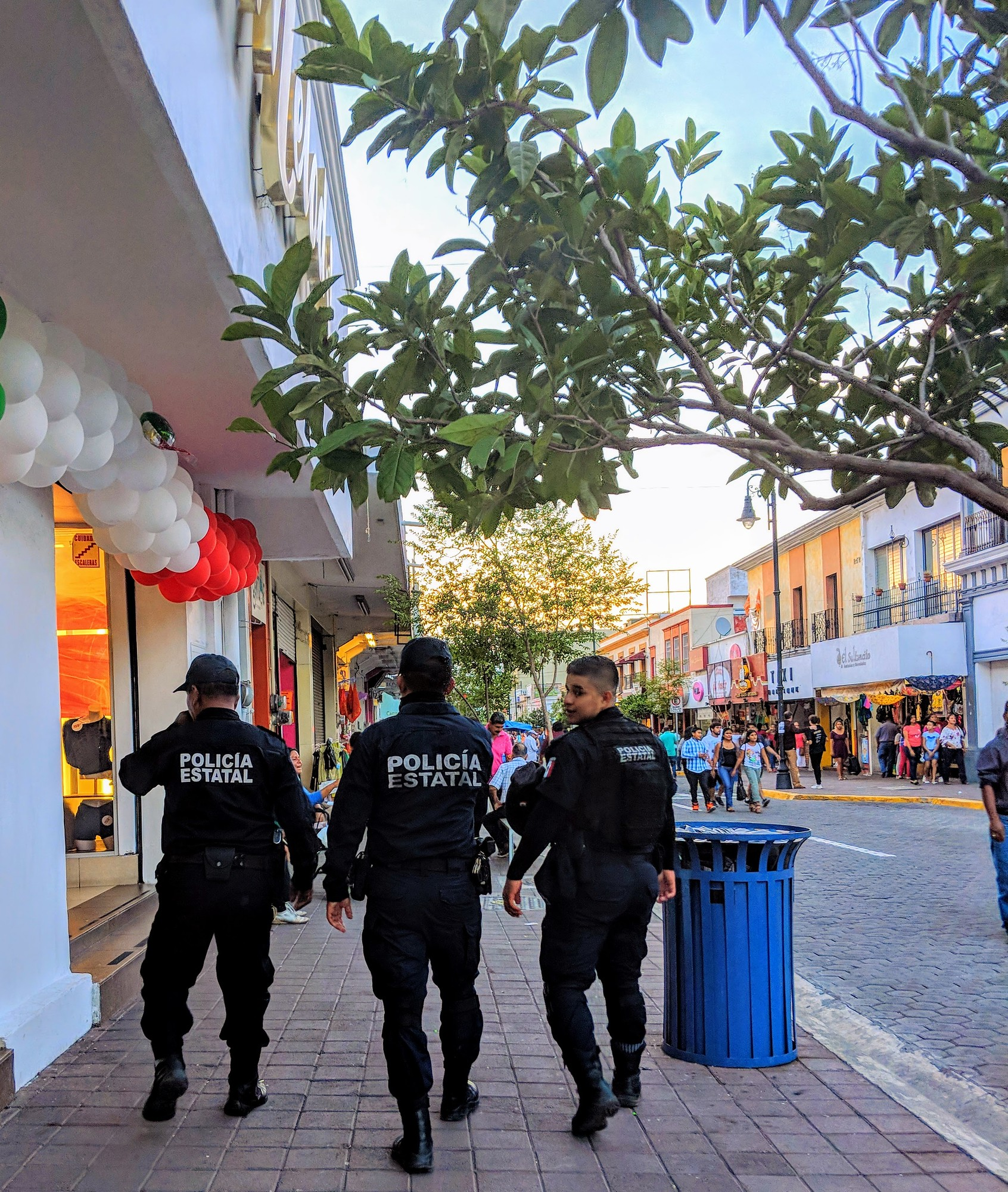 Local police during a festival in Colima in Mexico