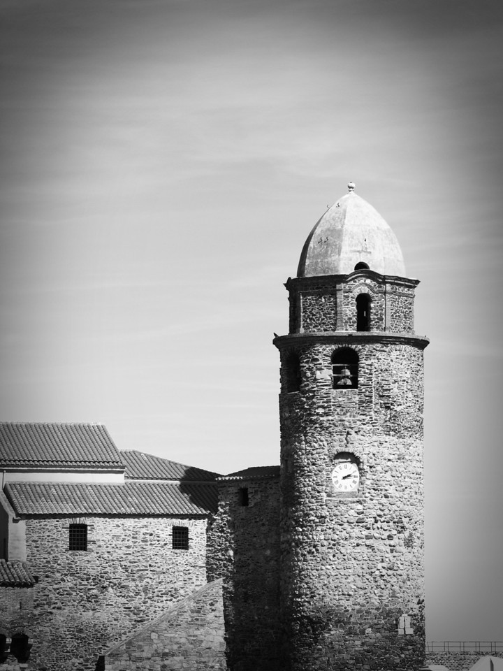 Collioure Bell Tower in Black & White